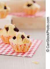 Chocolate chips and almond muffins Breakfast vanilla...