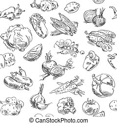 Freehand drawing vegetables Vector illustration Seamless...