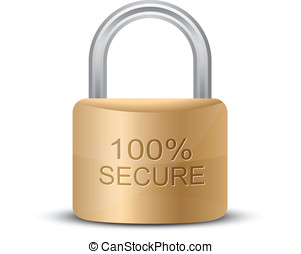 Metallic padlock. 100% Secure - SSL Certificates Sign for...
