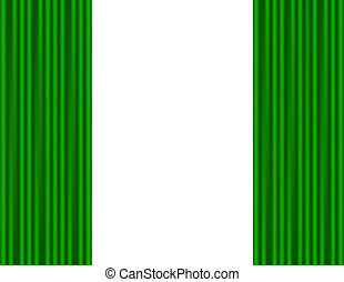 Green curtains on a white background