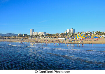 Santa Monica California Coast Line - Panoramic view of Santa...