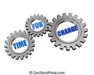 time for change in silver grey gears - time for change text...