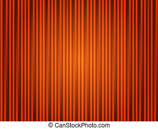 Curtain orange closed with light spots in a theater