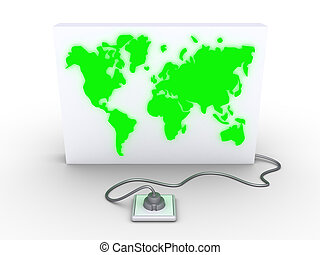 A panel with the world map is plugged in - A 3d panel with...