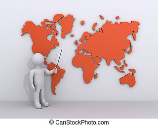 Person is showing a world map