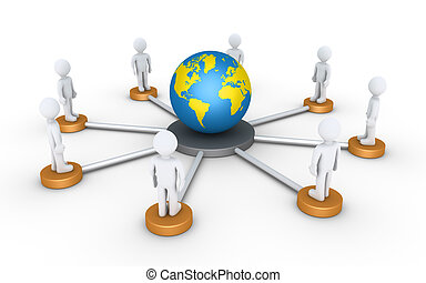 People connected to the world - 3d people on platforms are...