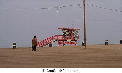 Santa Monica Pier, Beach Walking, Los Angeles  (Cities)