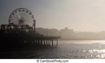 Fog at the Santa Monica Pier, End Of Route 66, Los Angeles...