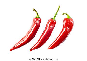 vermelho, quentes, pimentão, pimenta