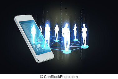 smartphone with social or business network - business and...