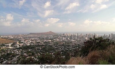 Diamondhead, Honolulu Skyline, Oahu, Hawaii (Cities)