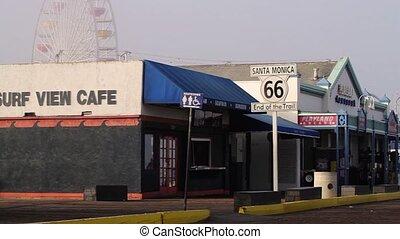 Los Angeles Santa Monica Pier Route66, End Of Trail, Pan...