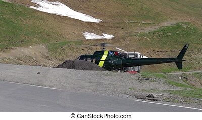 Starting Helicopter, Col De Tourmalet, France Landscape