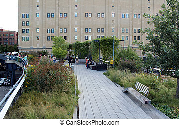 High Line. New York City. Elevated pedestrian Park - NEW...