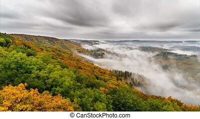 Timelapse foggy valley II - Time lapse video of a foggy...