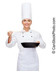 cozinheiro, colher, sorrindo, femininas, panela
