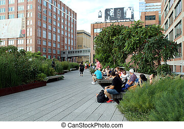 High Line New York City Elevated pedestrian Park - NEW YORK...