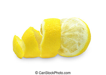 peel of lemon - peel of a lemon on a white background