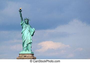 estátua, liberdade, escultura, liberdade, ilha, meio