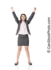 Successful business woman hands up - Successful asian...