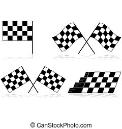 Checkered flags - Icons showing a race checkered flag in...