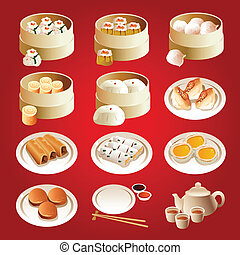 Dim sum icons - A vector illustration of dim sum icon sets