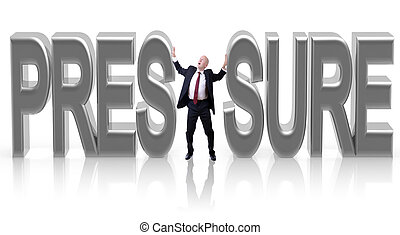 Under pressure - A businessman squashed by pressure isolaed...