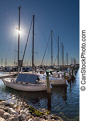 sailboats in the morning in Hilarys Boat Harbour at Perth in...