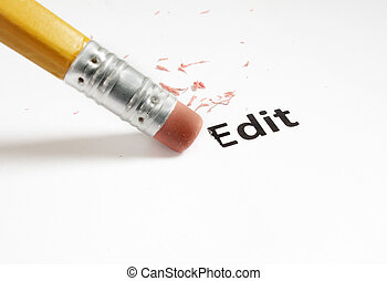 edit macro - closeup of a pencil eraser and Edit text...