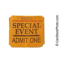 special event - Special Event ticket stub, isolated on white
