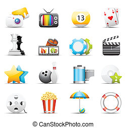 Entertainment icons - Vector set of entertainment icons