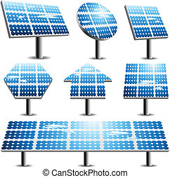 Solar panels - Vector set of different solar panels.