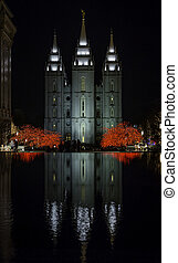 Mormon Temple Reflected On Water Du - A scene from Temple...