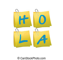 hello post message in spanish set illustration design over a...