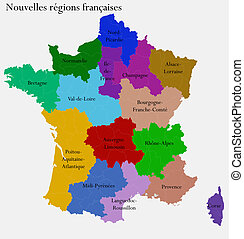 New French regions Separated departments