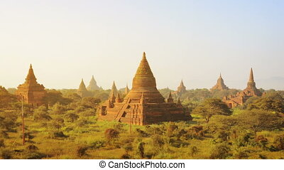 Ancient temples at the sunset Bagan Myanmar - Video...