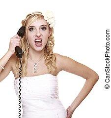 Gritar, relación, novia, furia, teléfono, dificultades, boda