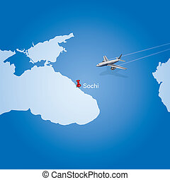 airplane flying to Sochi