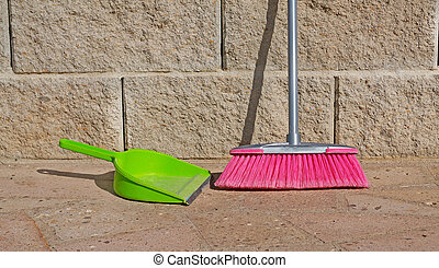 green and pink - green shovel and pink broom