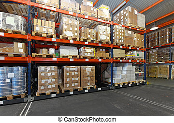Distribution warehouse - Mobile aisle racking system in...