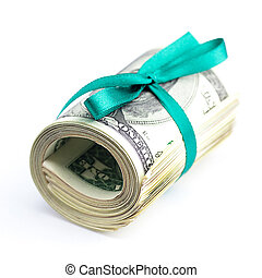 Dollars rolled into a tube tied with ribbon isolated on...