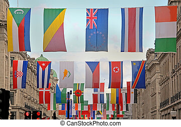 World flags - Bunch of world national flags hang up across...