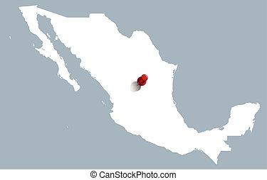 white map of Mexico with push pin
