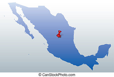 blue map of Mexico with push pin
