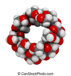 Beta-cyclodextrin molecule. Used in pharmaceuticals, food,...