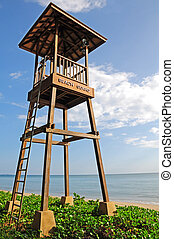 Close up lifeguard tower on the beach near the sea