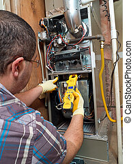 Hispanic handyman repairman conducting residential HVAC...