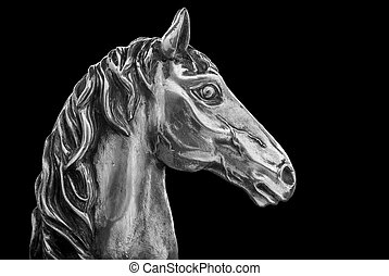 Silver Horse Head - Image of a sculpture in silver of a...