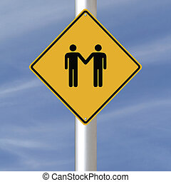 Same Sex Relationship Ahead - A conceptual road sign on same...