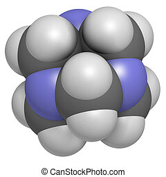 Hexamethylenetetramine (methenamine) molecule. Medically...
